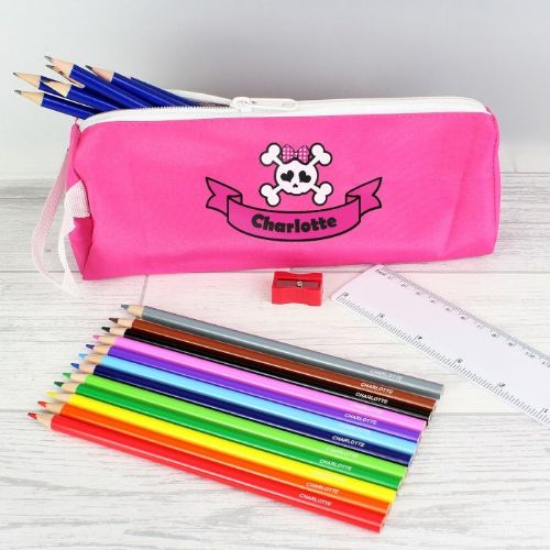 Pink Skull Pencil Case & Personalised Contents